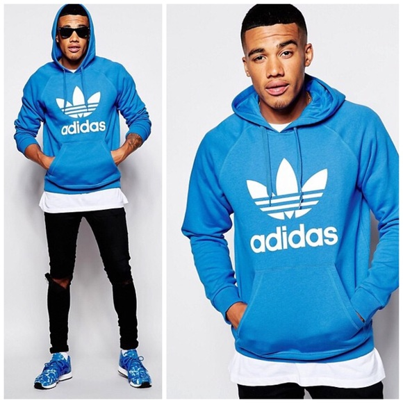 Adidas classic royal blue hooded sweatshirt